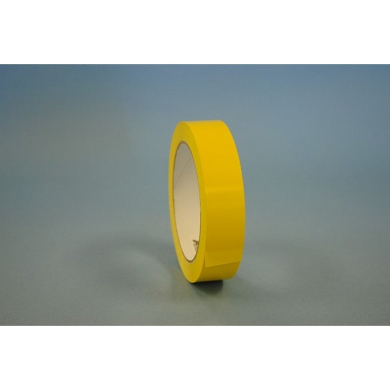 "3/8"" x 180 Yd Yellow UPVC Produce Bag Sealing Tape (Case of 6 Rolls) 19997"