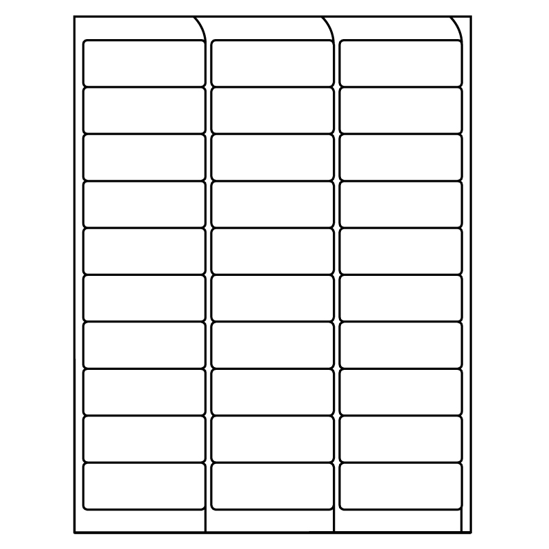 "2.625"" x 1"" InkJet Laser Labels, White, (30 Labels per Sheet, 100 Sheets per Carton)"