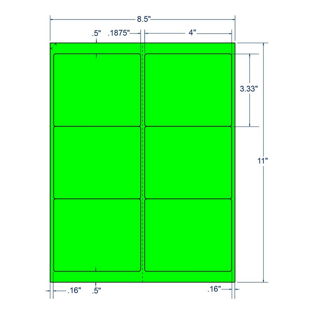 "4"" x 3.33"" Fluorescent Green Laser Printer Shipping Label, 6 Labels per Sheet (100 Sheets per Box) 13086"