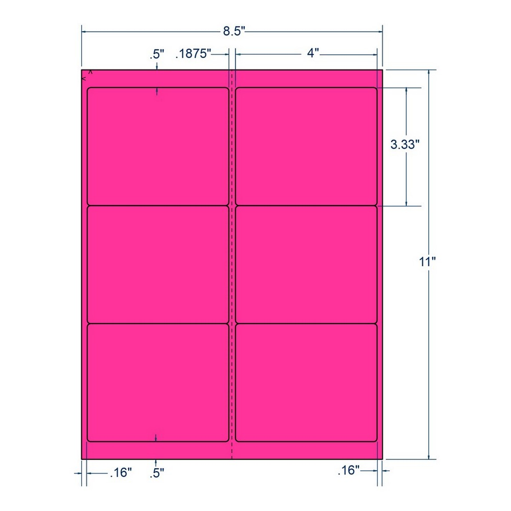 "4"" x 3.33"" Fluorescent Pink Laser Printer Shipping Label, 6 Labels per Sheet (100 Sheets per Box) 13087"