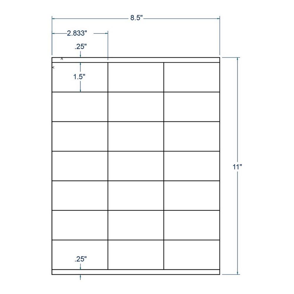 "2.83"" x 1.5"" White Inkjet / Laser Labels, 21 label per Sheet (1,000 Sheets per Carton) 13146"