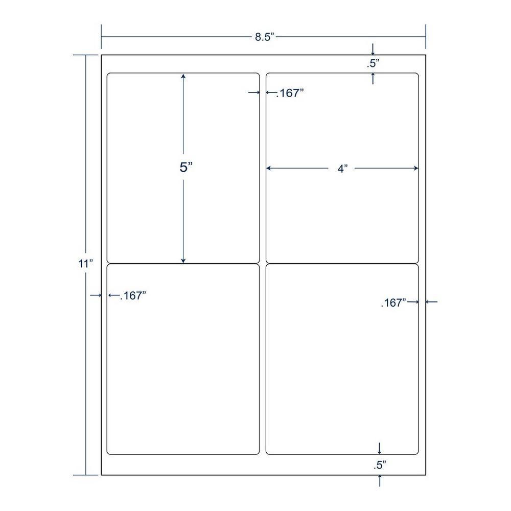 4 x 5 white shipping label 4 labels per sheet 250 sheets per carton
