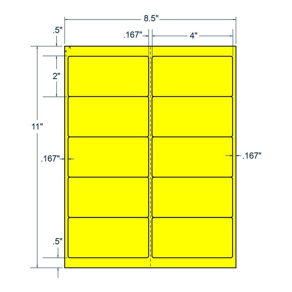 4 x 2 fluorescent laser printer address label 10 labels per sheet