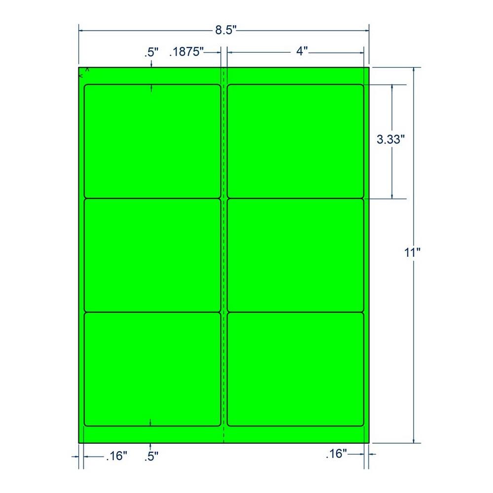 "4"" x 3.333"" Fluorescent Green Laser Printer Shipping Label, 6 Labels per Sheet (250 Sheets per Carton) 38868"