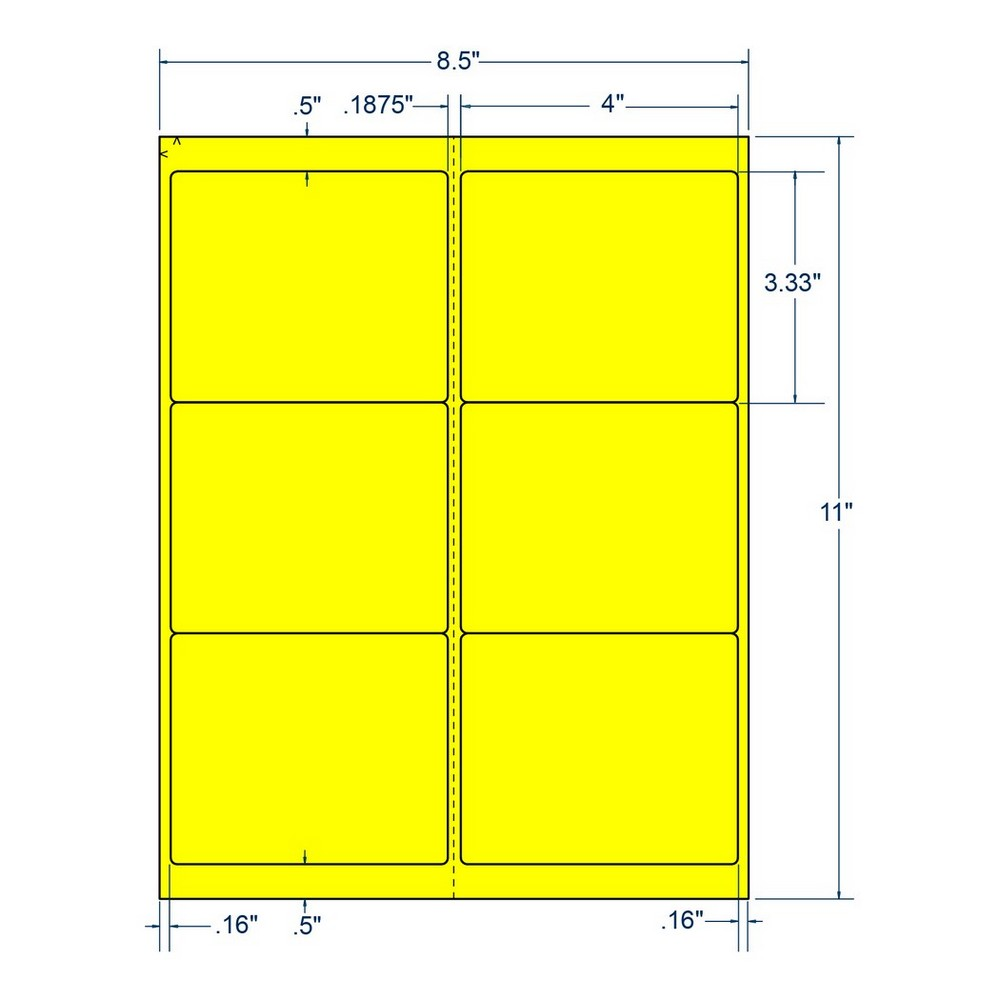 "4"" x 3.333"" Fluorescent Yellow Laser Printer Shipping Label, 6 Labels per Sheet (250 Sheets per Carton) 38866"