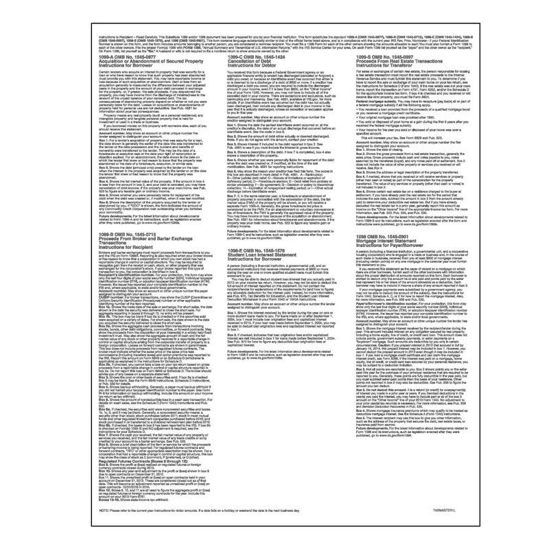 1099 Blank W/Multiple 1099 Backers Cut Sheet (Form Smart