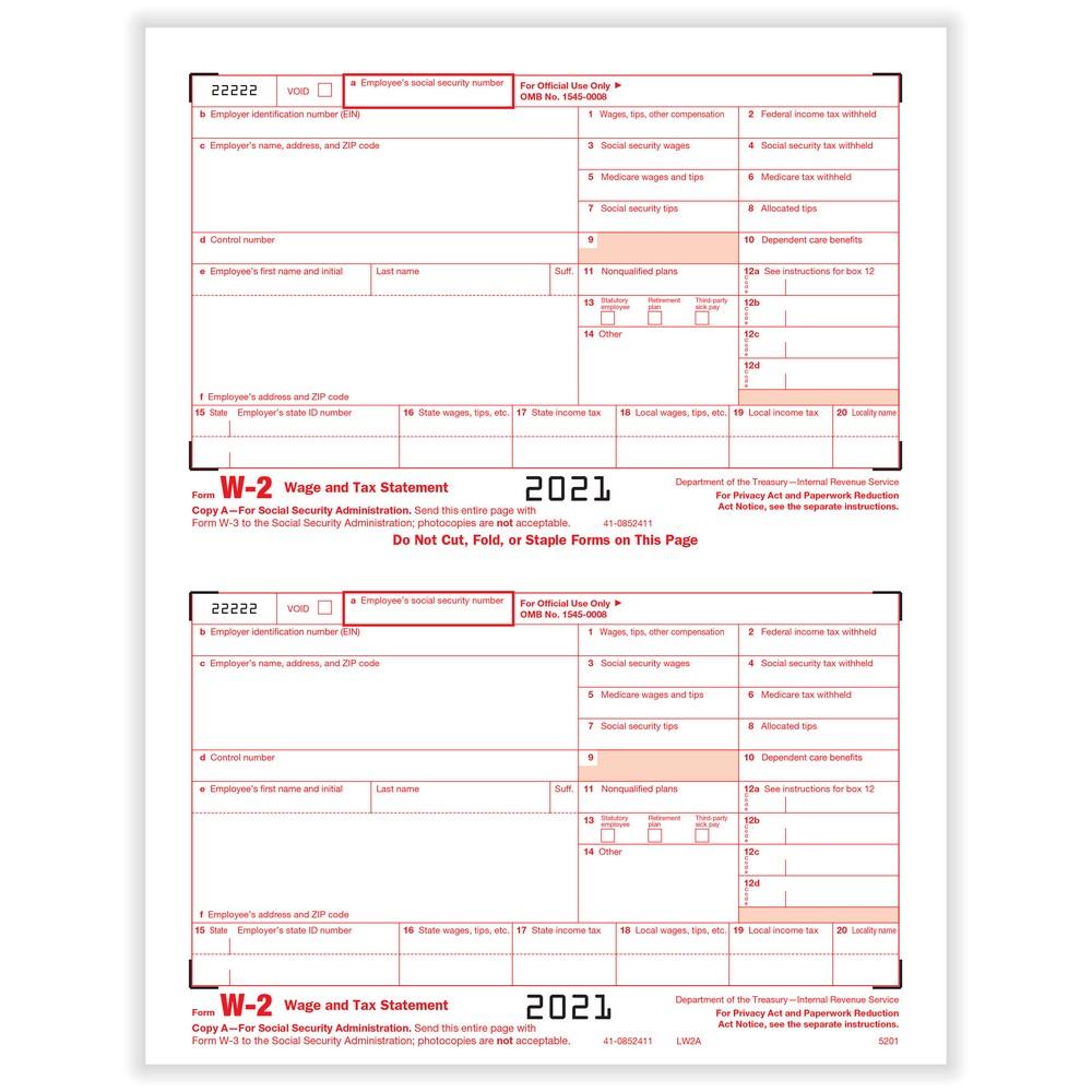 W-2 Fed IRS Copy A Cut Sheet (1,000 Forms/Ctn)