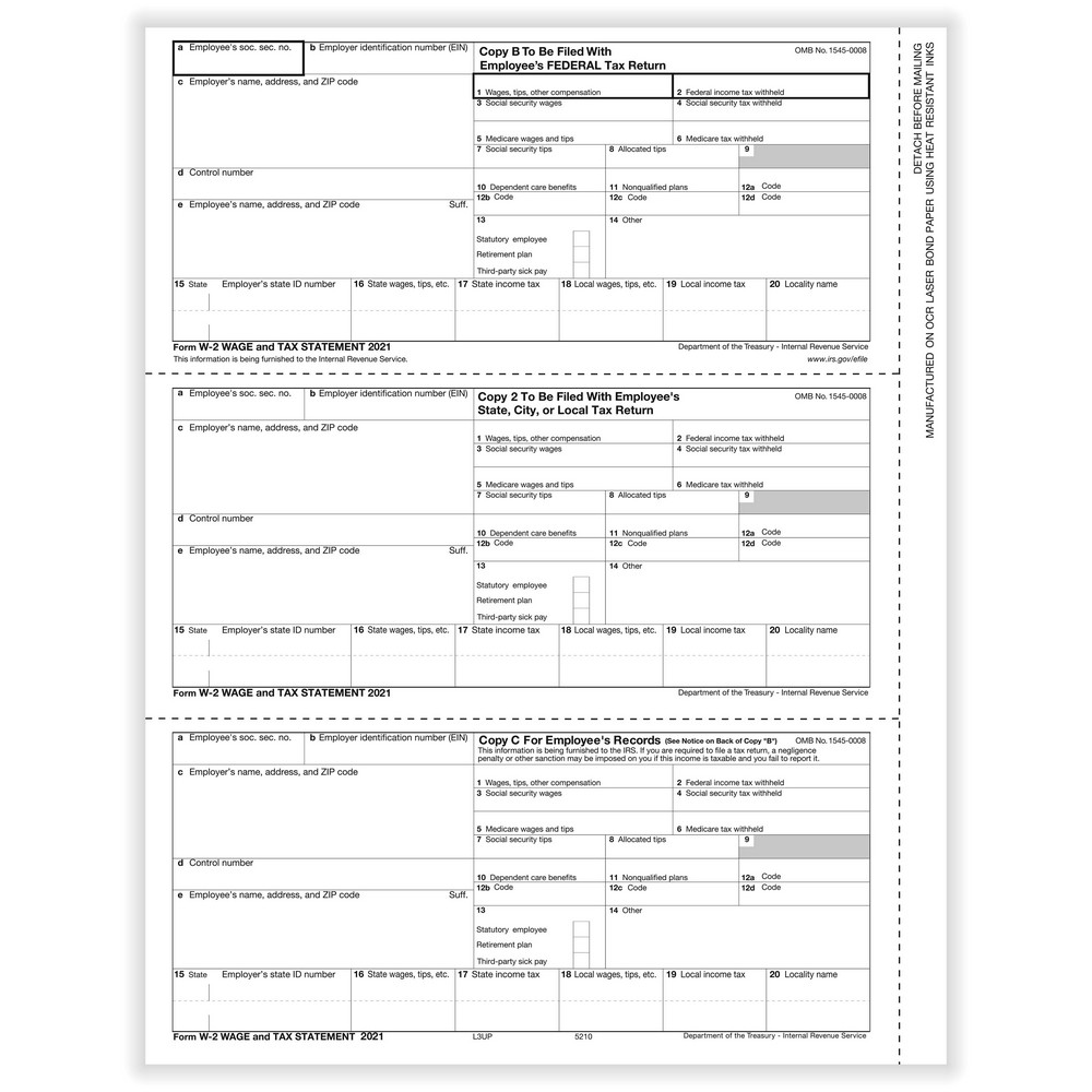 W-2 Employee 3-Up Horizontal Copy B,C And 2 Cut Sheet (200 Forms/Pack)