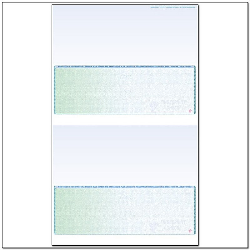 Green to Blue Rainbow Laser Check, Bottom Position, Fingerprint II, Panels at 3-1/2 - 3-1/2 - 3-1/2 - 3-1/2 (Carton of 500)