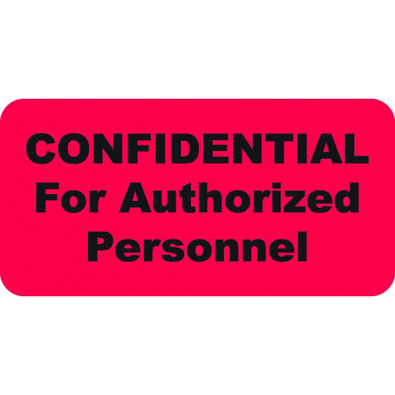HIPAA Labels, CONFIDENTIAL For Authorized Personnel