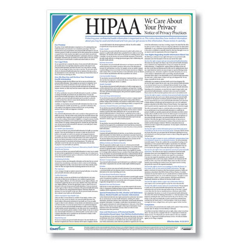 HIPAA Notice Of Privacy Practices Poster (Patient Poster