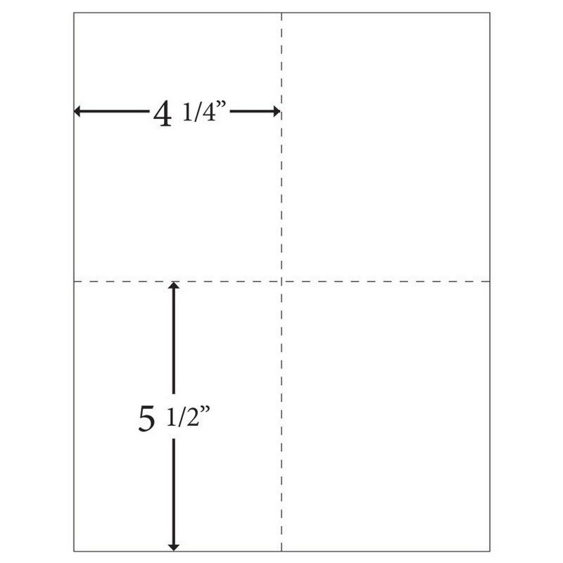 "8-1/2"" x 11"" Laser Cut Sheet, 20# White Stock Vertical Perf 4-1/4"" Horizontal Perf 5-1/2"