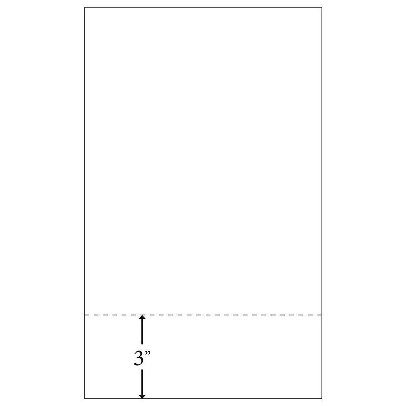 "8-1/2"" x 14"" Laser Cut Sheet, 24# White Stock, 1 Horizontal Perforation 3"" from Bottom (Carton of 25"