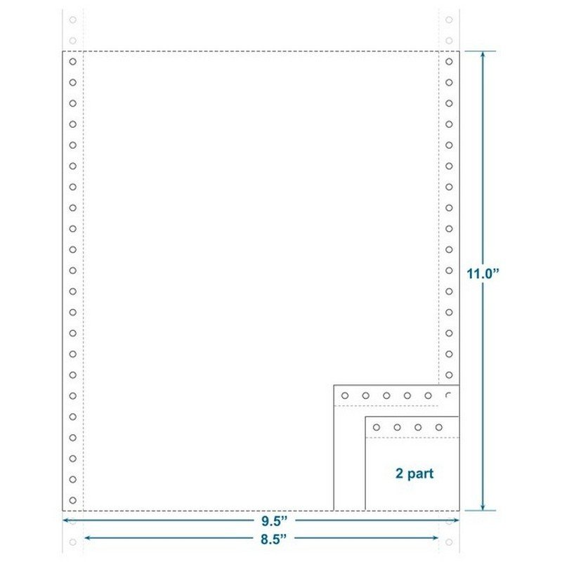 """2-Ply Carbonless Paper, Blank, Form Size 9-1/2"""" X 11"""" (W X"""