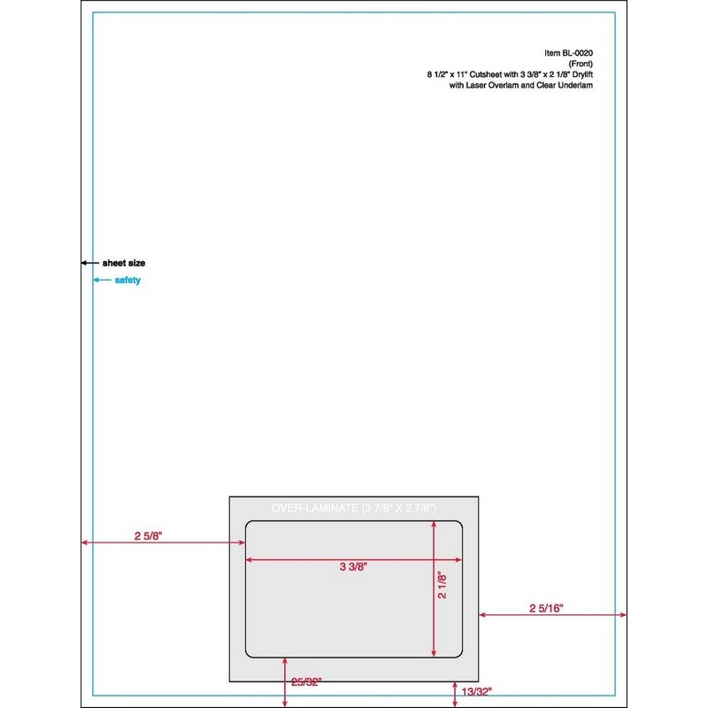"3-3/8"" x 2-1/8"" (3.375"" x 2.125"") Integrated Laser Card Form Sheets, 1 Card Centered (Carton of 1000) 20118"