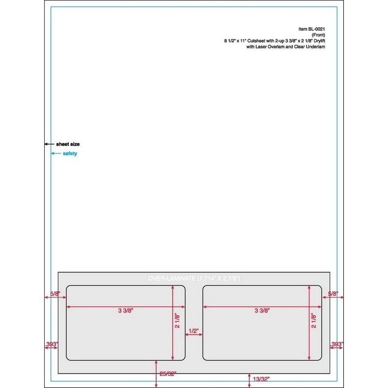 "3-3/8"" x 2-1/8"" (3.375"" x 2.125"") Integrated Laser Card Form Sheets, 2 Up Cards (Carton of 1000) 18941"