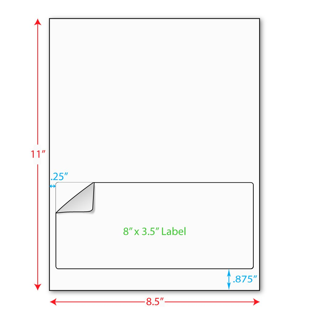 """8"""" x 3-1/2"""" (8"""" x 3.5"""") Integrated Laser Label Form Sheets, 1 Label (Carton of 1000) 5210"""
