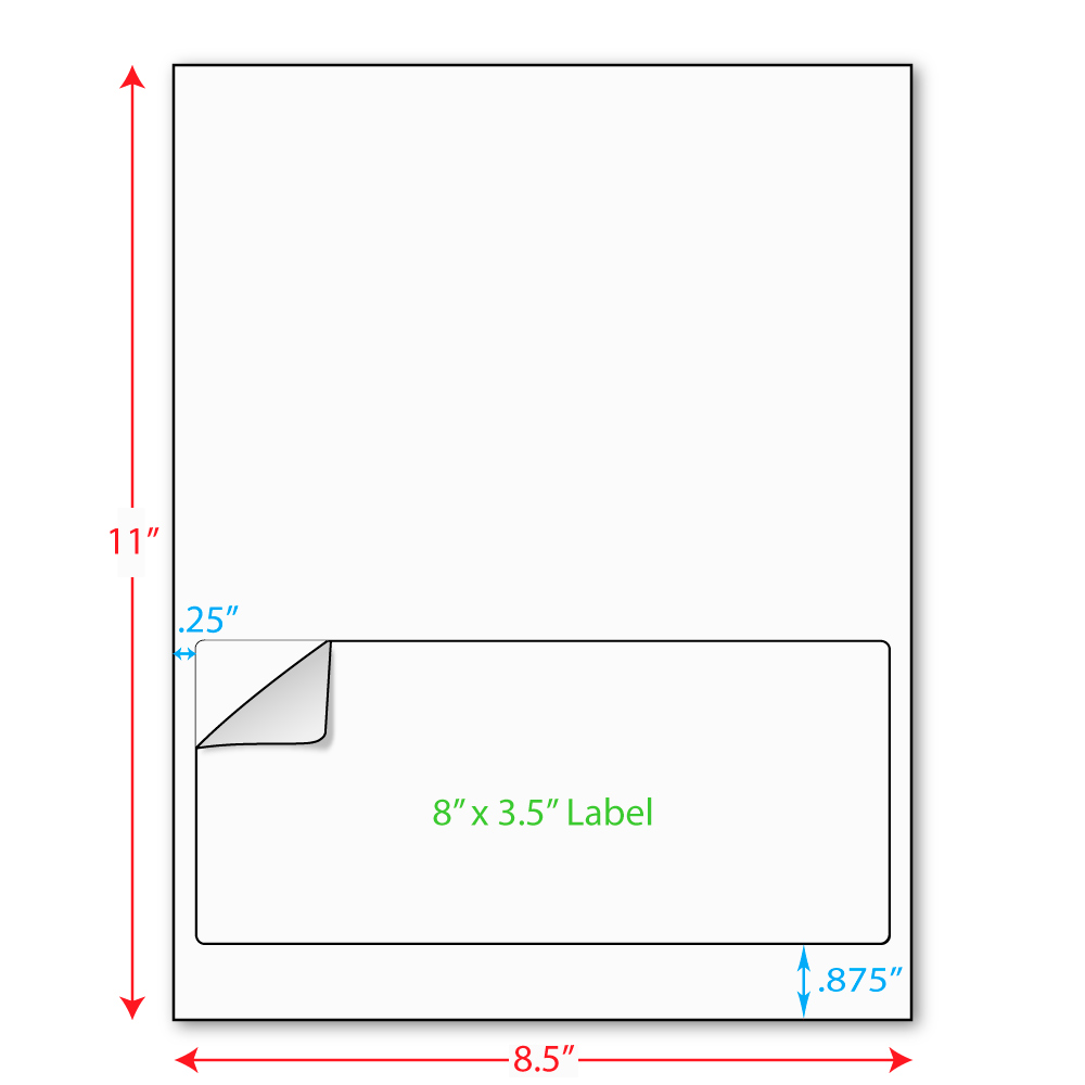 """8"""" x 3-1/2"""" (8"""" x 3.5"""") Integrated Laser Label Form Sheets, 1 Label (Lot of 250) 5209"""