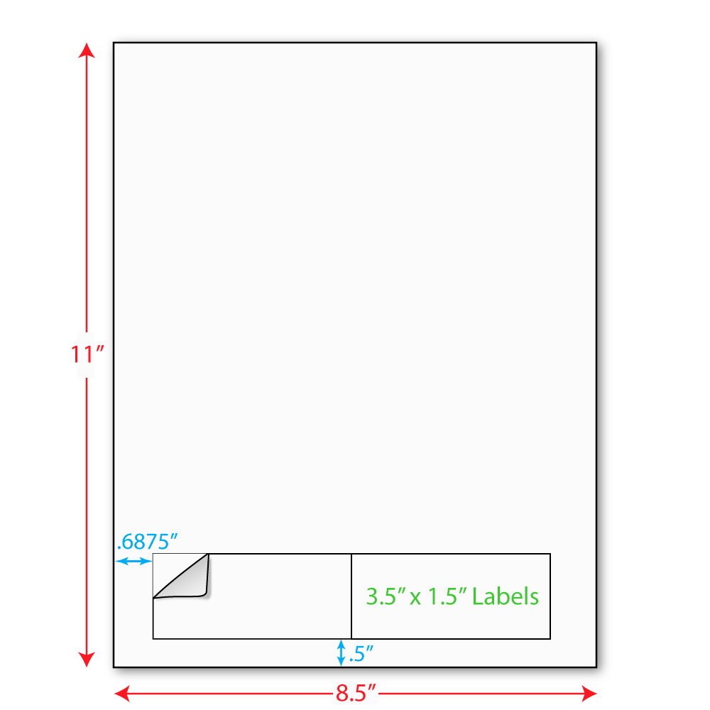 """3-1/2"""" x 1-1/2"""" (3.5"""" x 1.5"""") Integrated Laser Label Form Sheets, 2 Up Labels (Lot of 250) 5219"""