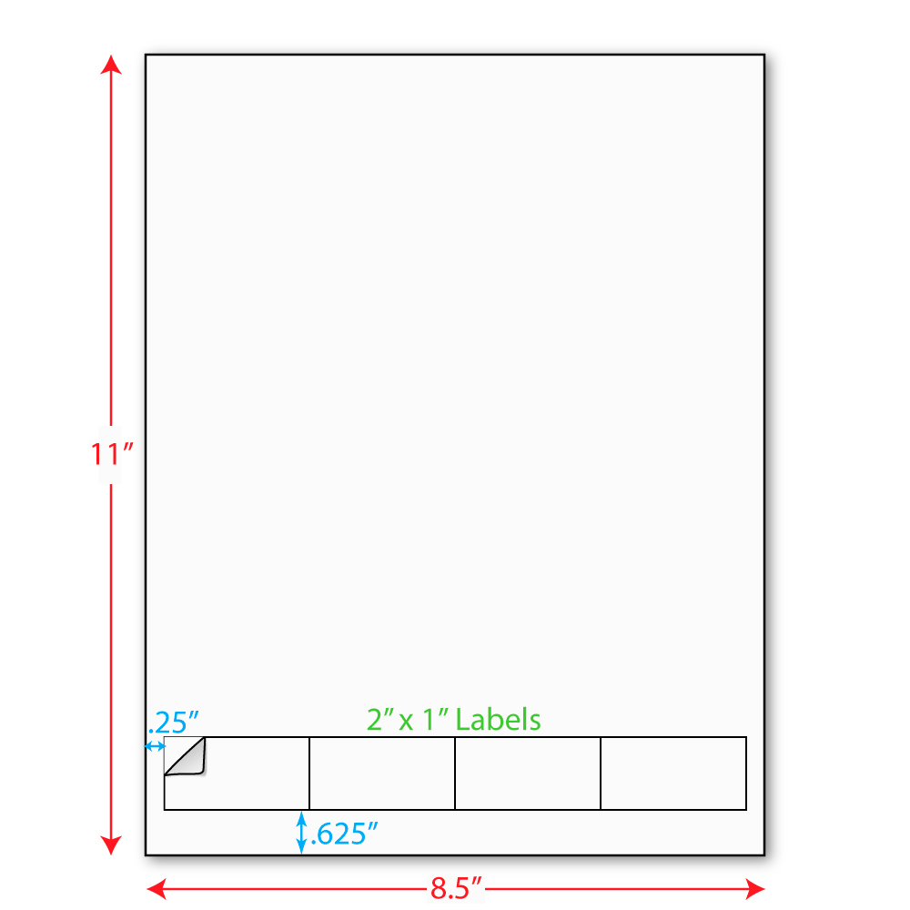 2 x 1 integrated laser label form sheets 4 across labels carton