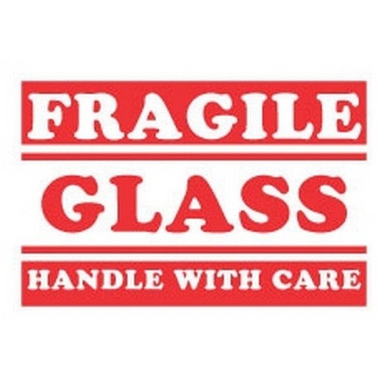 """4"""" x 6"""" Fragile Glass Handle With Care Labels (500 per Roll)"""