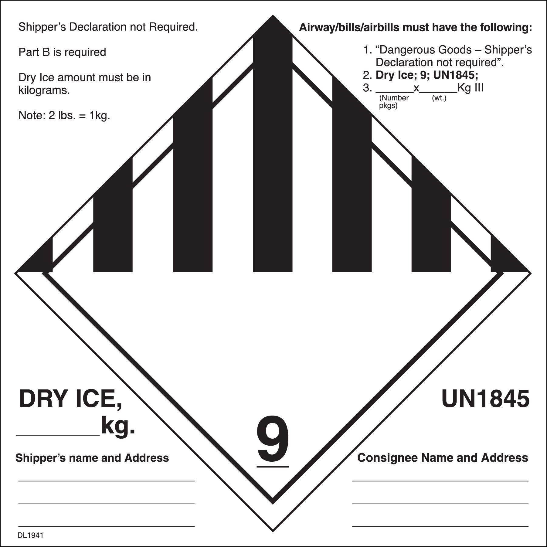 6 Quot X 6 Quot Dry Ice Un1845 Labels 500 Per Roll