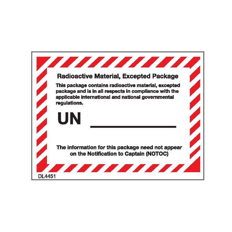 Blue//White Excepted Package Labels//Stickers 1 Roll 500 Labels Per Roll Radioactive Material 4 3//8 x 3 1//4