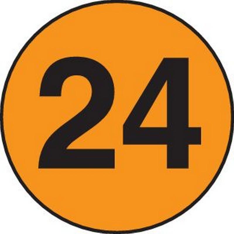 """2"""" Diameter number 24 circle labels (500 per Roll)"""