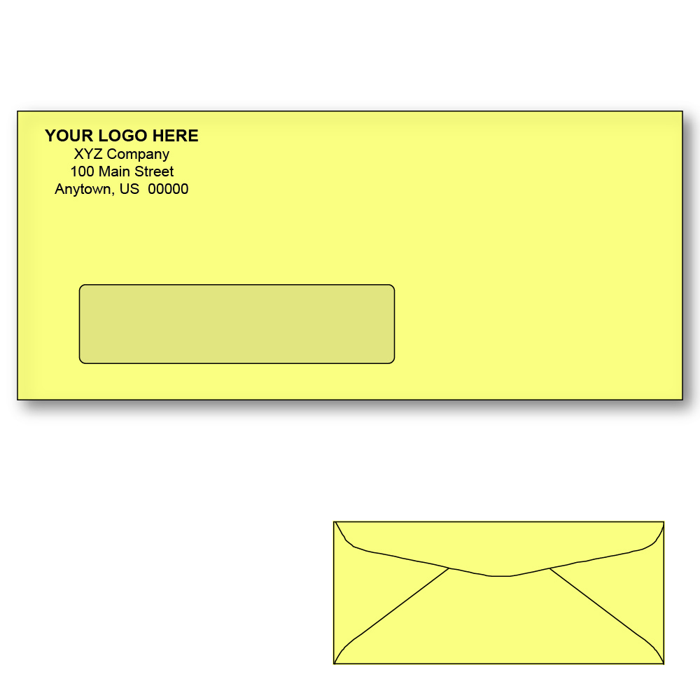 Custom printed 10 canary window envelopes 4 1 8 x 9 1 2 for 2 window envelope