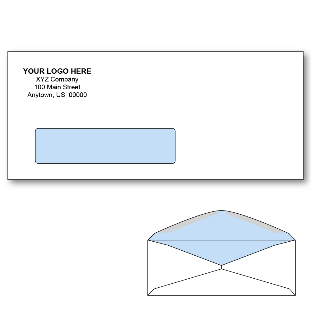 Custom printed 10 window envelopes with tint 4 1 8 x 9 for 2 window envelope