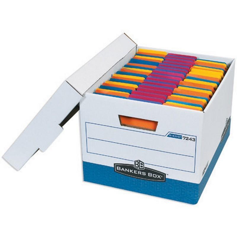 Letter legal premium white blue file storage boxes with for Letter legal storage boxes with lids