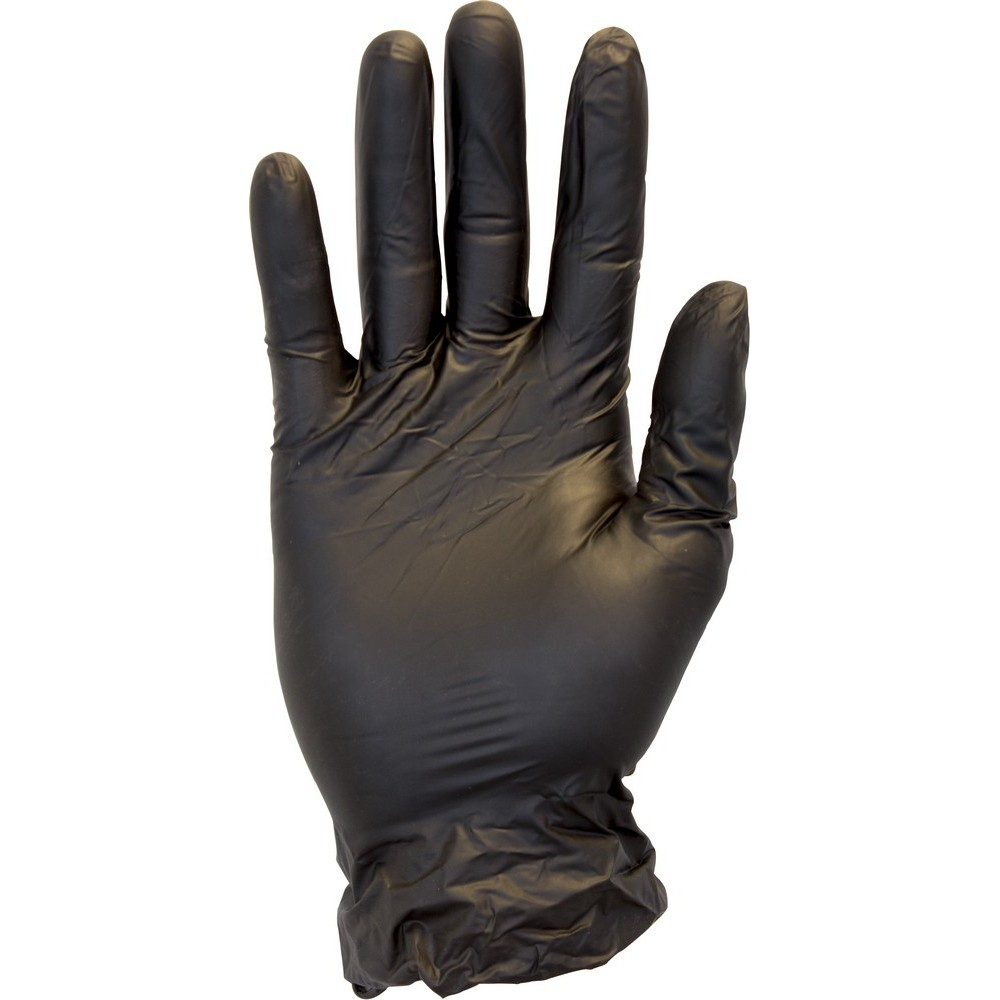 Large Powder Free Black Vinyl Gloves Non Medical 100
