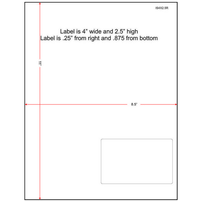 """4"""" x 2-1/2"""" (4"""" x 2.5"""") Integrated Laser Label Form Sheets, 1 Label Right (Carton of 1500) 33381"""