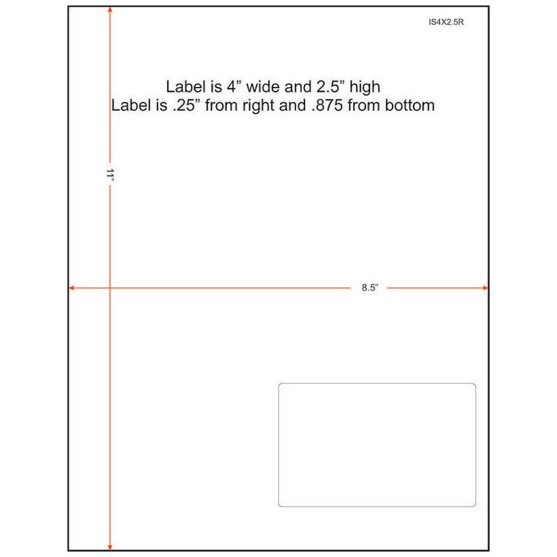 "4"" x 2-1/2"" (4"" x 2.5"") Integrated Laser Label Form Sheets, 1 Label Right (Carton of 1000) 38164"