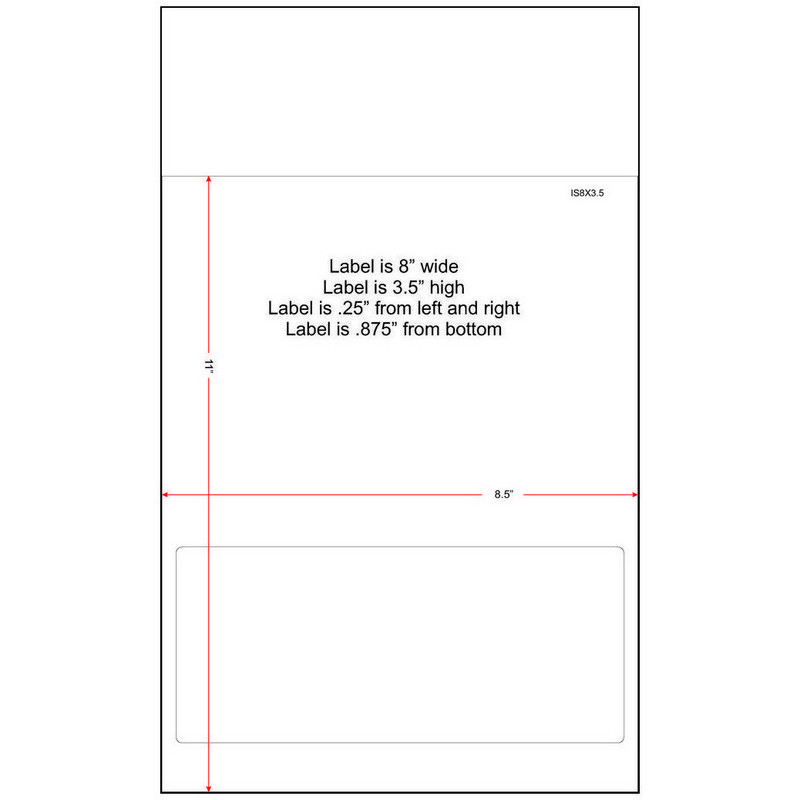 "8"" x 3-1/2"" (8"" x 3.5"") Integrated Laser Label Form Legal Size Sheets, 1 Label (Carton of 1500) 33411"