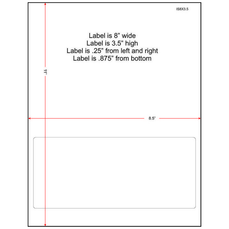 "8"" x 3-1/2"" (8"" x 3.5"") Integrated Laser Label Form Sheets, 1 Label (Carton of 1500) 33388"