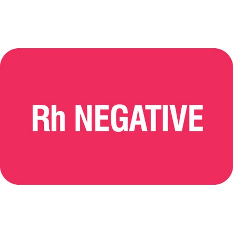 """Chart Labels, Rh NEGATIVE - Red, 1-1/2"""" X 7/8"""" (Roll of 250) 2183"""