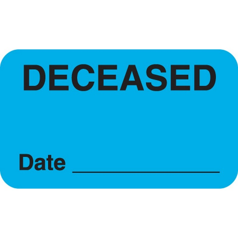 """Chart Labels, DECEASED - Lt. Blue, 1-1/2"""" X 7/8"""" (Roll of 250) 2179"""
