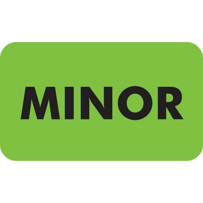 """Chart Labels, MINOR - Fl Green, 1-1/2"""" X 7/8"""" (Roll of 250) 2176"""