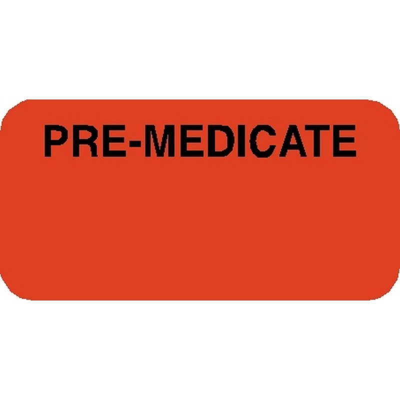 "Chart Labels, PRE-MEDICATED - Fl Red, 1-7/8"" X 3/4"" (Roll of 500) 2192"