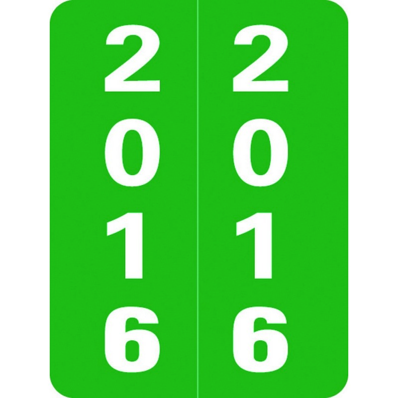 """Smead Compatible """"2016"""" Yearband Labels, Laminated Stock 1-1/2"""" x 2"""" - 500 per Roll 37195"""