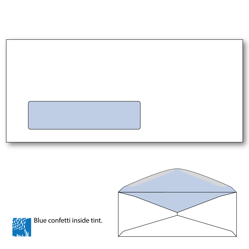10 commercial window envelopes with blue confetti tint for 2 window envelope