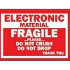 3  x 4  Fragile Electronic Material Labels (500 per Roll) Labels Measure: 3  x 4 , 500 Labels per Roll, Label Color: White / Red, Paper Label Stock On Silicone Coated Release Paper, Made in USA, Labels Ship in 2-3 Days