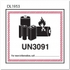 4-5/8  x 5  UN3091 Lithium Metal Battery Labels (500 per Roll) Changes to the lithium battery labelling requirements now require packages to be marked with the new lithium battery symbol, UN number and telephone number. Our 4-5/8  x 5  lithium battery Labels meet DOT, ICAO and IATA labeling requirements for shipping lithium batteries. These labels are preprinted with the UN 3091. This UN number signals that the package contains lithium metal batteries that are contained in or packed with equipment when shipped. The bright red hatched edging design makes the labels stand out. Labels include a writable area for emergency response contact information. Sold 500 per roll.