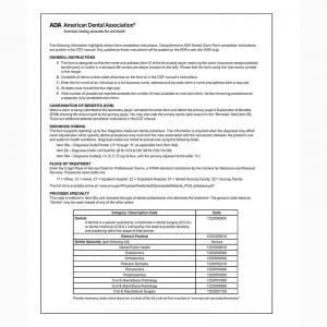 ada dental claim form instructions