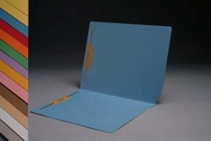S-1502-BE Blue End Tab Folders with Fasteners