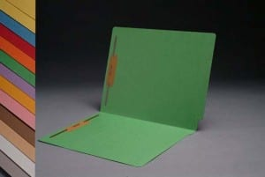 S-1502-GRN Green End Tab Folders with Fasteners
