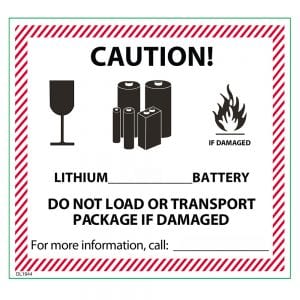 lithium battery label with words and pictures
