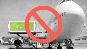 airplane not allowing lithium battery on board